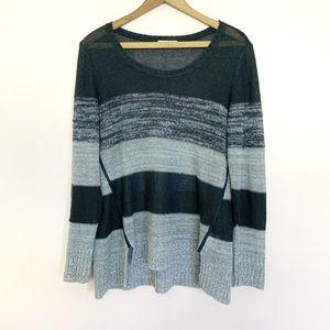 Eileen Fisher Gray Linen Striped Sweater